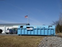 Blue Recycle Bin at Lower Frankford Township building
