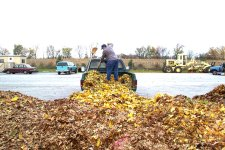 South Middleton Township resident dropping off leaves at the township compost site.