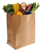 Brown grocery sack with food in it