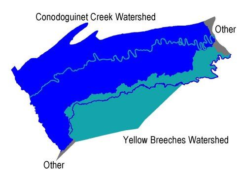 Map showing the delineated Cumberland County Watersheds