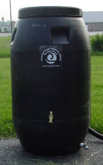 Image of constructed Rain Barrel