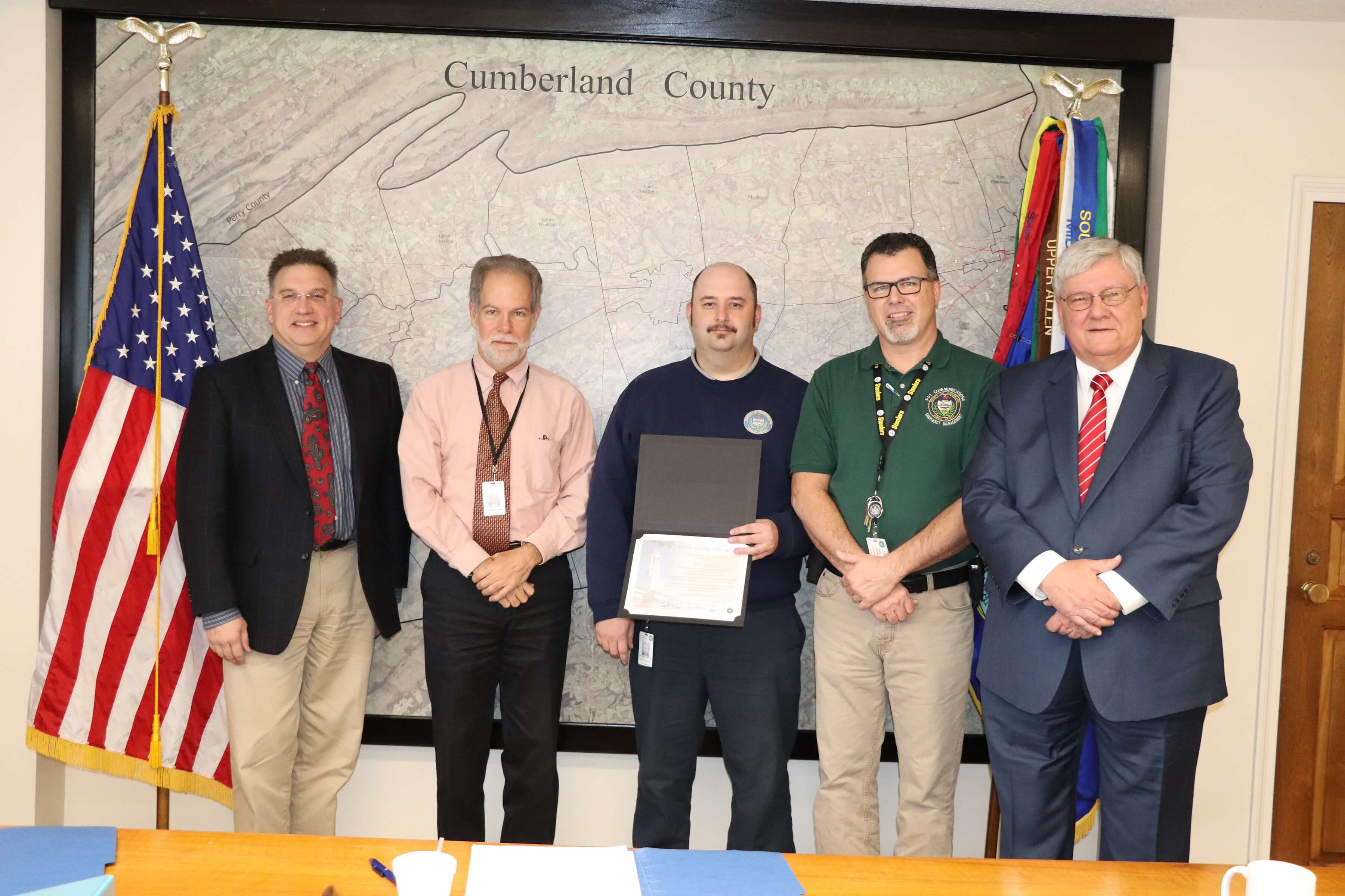 The Cumberland County Commissioners today recognized Dispatcher Seth Munson, for saving a 7-week-old