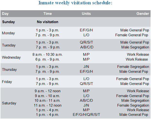 Inmate weekly visitation schedule. For a printable version click on the image to view the PDF.