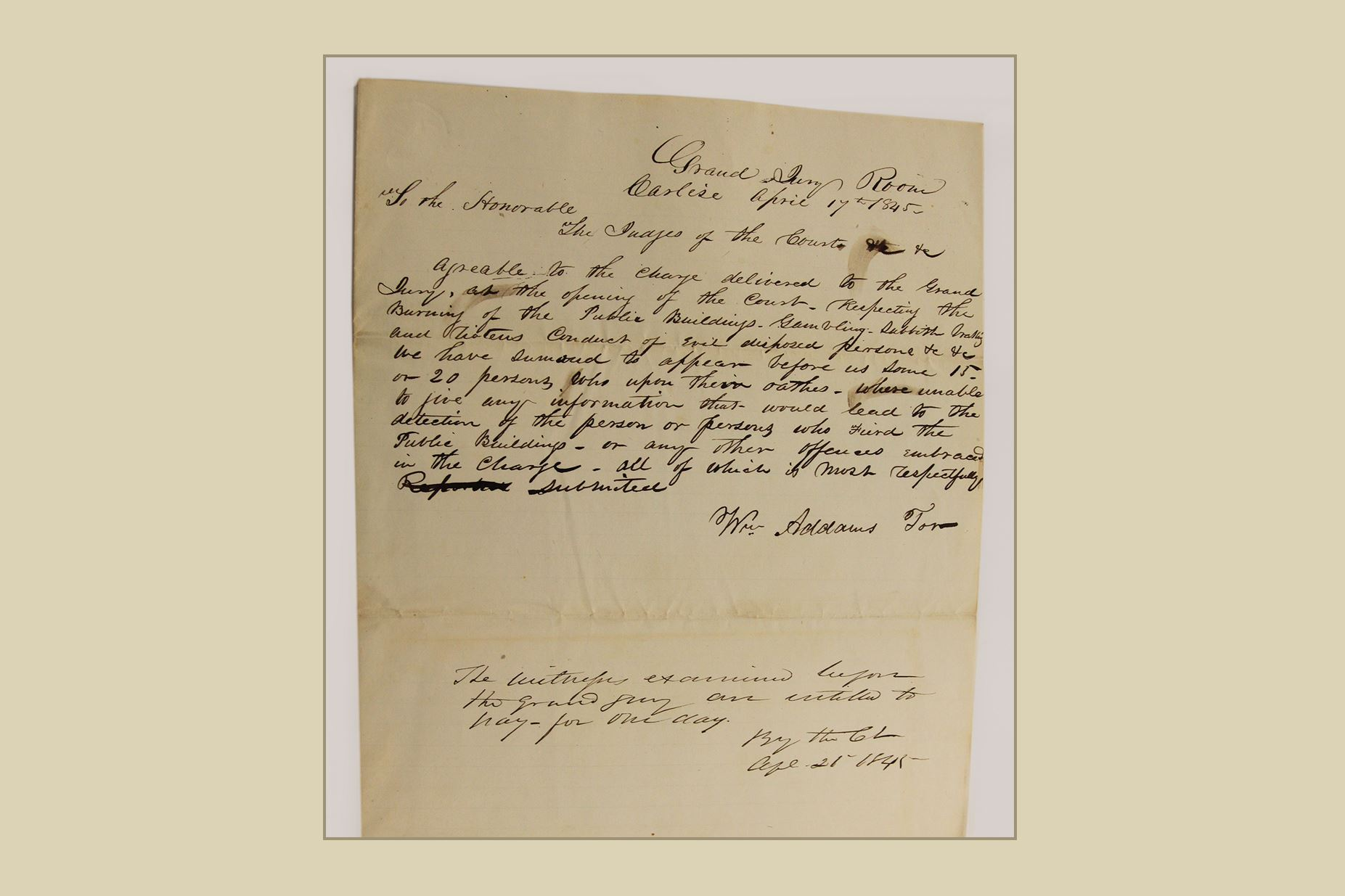 Original Summons Letter to Judge