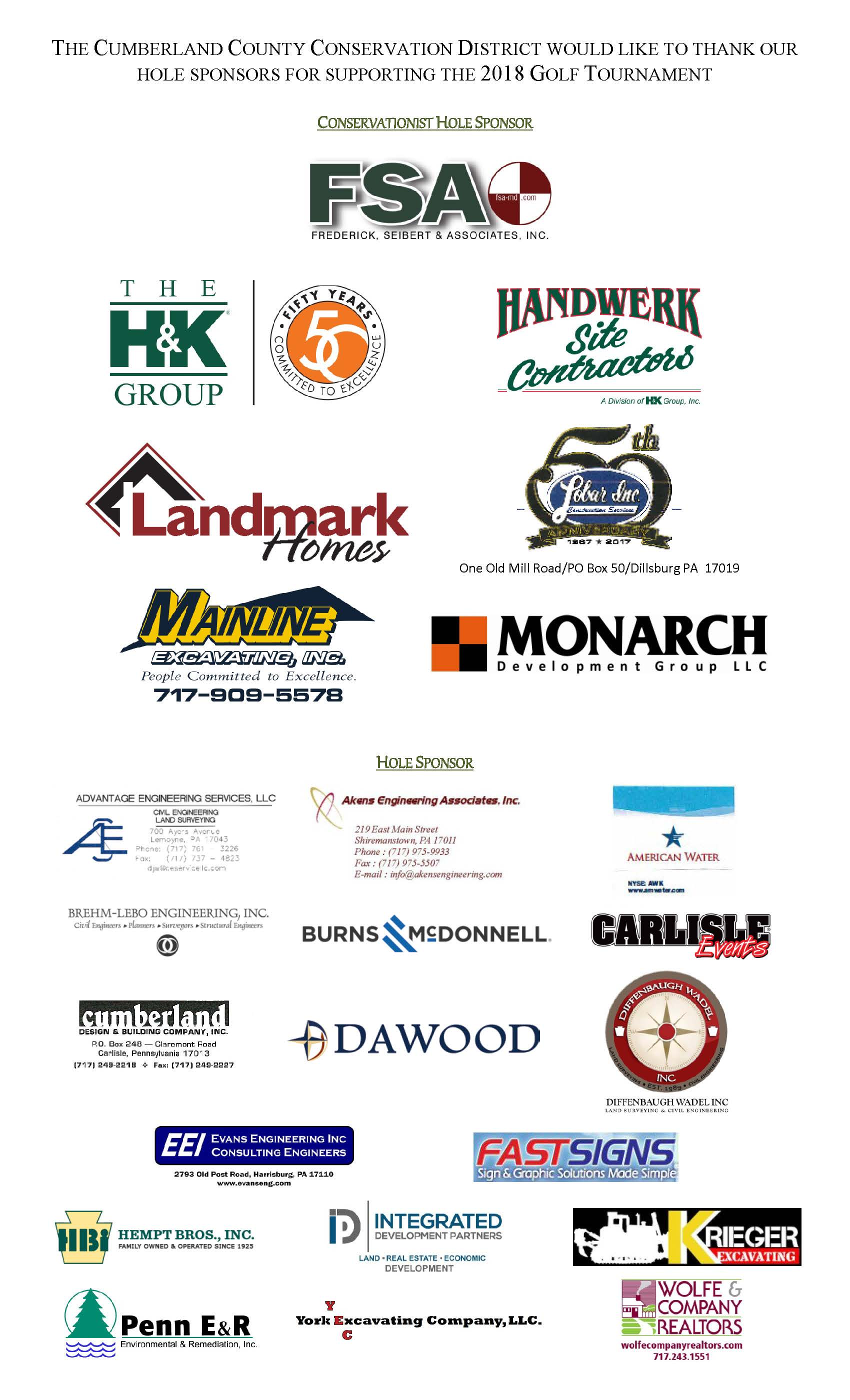 List of 2018 golf outing hole sponsors